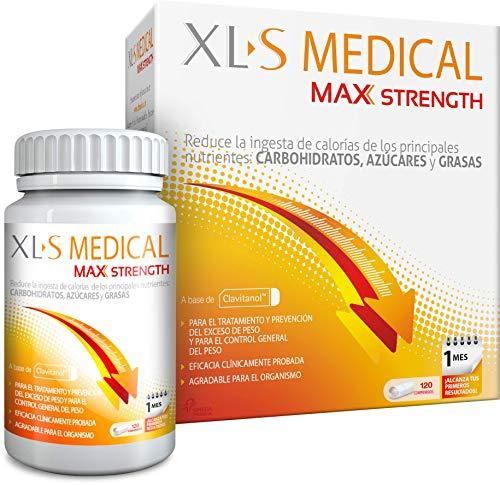 XL-S Medical Max Strength - Bloqueador de la absorción de Carbohidratos, Azúcares y Grasas - Tratamiento para Adelgazar - Reduce la ingesta de Calorías y Antojos - 120 Comprimidos, 1 Mes de Tratamient