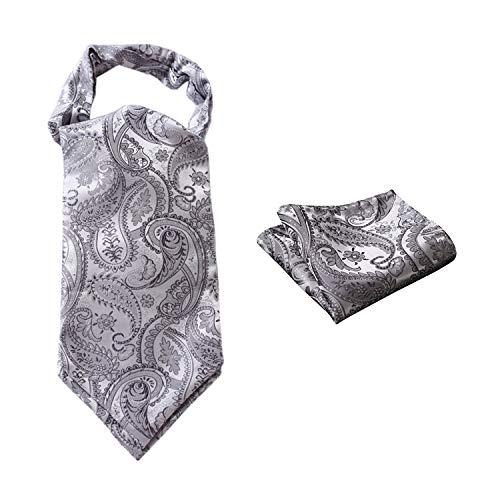 03a7dbf422bbc Hisdern Herren Paisley Floral Jacquard gewebt Ascot   Taschentuch Set