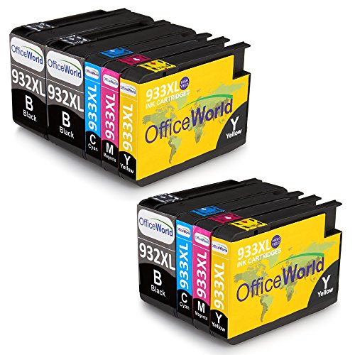 OfficeWorld Ersatz für HP 932XL 933XL Druckerpatronen 932 933 Hohe Kapazität Kompatibel mit HP Officejet 6700 6600 7612 7110 7610 6100 (3 Schwarz, 2 Cyan, 2 Magenta, 2 Gelb)