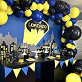 PuTwo Batman Party Luftballons 80 Stück Gelb Luftballons Luftballons Blau Luftballons Schwarz, Luftballons Matt Helium Luftballons für Batman Party, Pokemon Party, Minions Party, Despicable Me Party