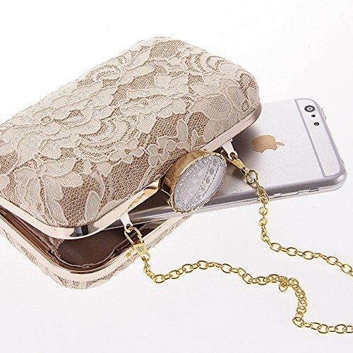 HIDOUYAL Damen Clutches Abendtaschen Spitze Handmade Kupplung Umhängetasche mit Kette elfenbein