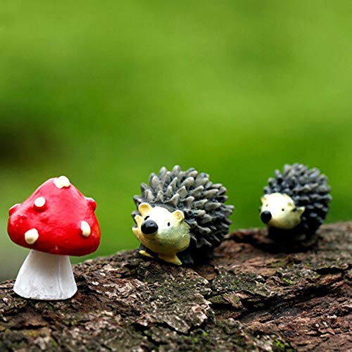 DIKHBJWQ Mossfairy Miniatur Ornament Igel Pilz Set Dekor Fee Garten