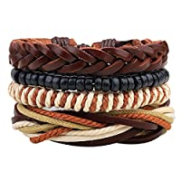HOUSWEETY 5PCs Leather Bracelet for Men Women Braided Rope Bead Bangle Cuff Bracelet