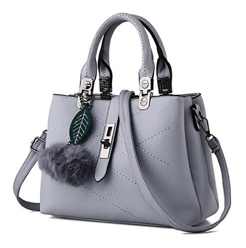 Hippolo Welle Paket Kuriertasche Damen weiblichen Beutel Handtaschen für Frauen Handtasche (Grau)