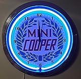 NEONUHR NEON CLOCK - OLD MINI COOPER - WANDUHR BELEUCHTET MIT BLAUEN NEON RING-ERHÄLTLICH AUCH MIT ANDEREN NEON FARBEN!