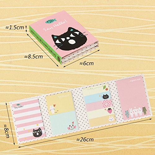 iDream 180 Pages Sticker Mini Animal Sticky Notes Four Fold Memo Pad...