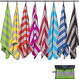 Fit-Flip Strandhandtuch XXL 200x100cm / Grün - Grau gestreift- handtücher 200 x 100, strandtücher groß, Leichtes Strandtuch, mikrofaser 200x100