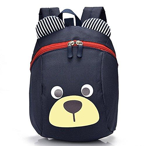 Kinderrucksack TEAMEN Anti verloren Kinder Rucksack Mini Bär Schule Tasche für Baby Jungen Mädchen Kleinkinder 1 - 3 Jahre (Dunkelblau)
