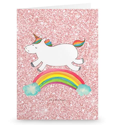 urtstagskarte, Hochzeitskarte, Grußkarte Einhorn Regenbogen - Farbe Glitzer Rosa ()