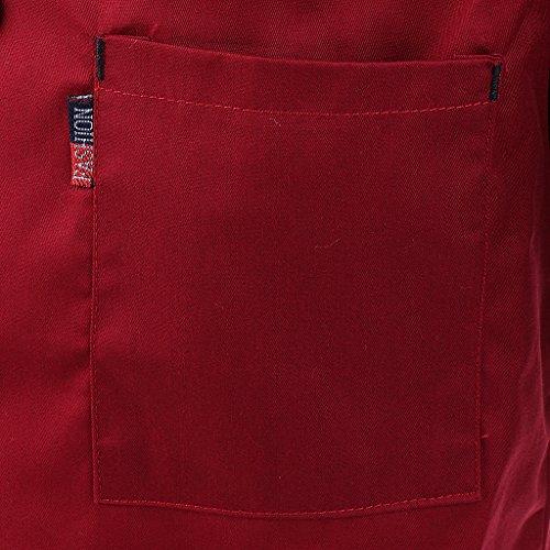 MagiDeal Herren und Damen Kurzarm atmungsaktiv Kochjacke mit Paspel und Knöpfe im verschiedenen Farben - Rot, XL - 6