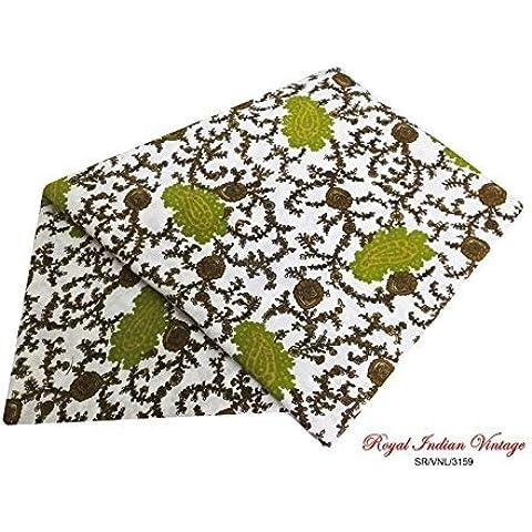 sari indio del vintage floral crepé de costura impresa cortina de mezcla de seda drapeado 5YD sari blanco usan las mujeres de tela recicladas envuelven el vestido hecho a mano hacer