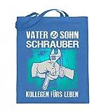 Hochwertiger Jutebeutel (mit langen Henkeln) - Mechanik Shirt · Geschenk für Mechaniker · Spruch: Vater und Sohn Schrauber Kollegen