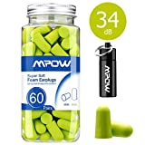 Mpow HP055A 055A, 34dB SNR Soft Foam, 60 Pairs EarPlugs with Aluminum Carry Case, Noise Reduction Sponge Ear Plugs for Hearing Protection, Sleeping, Working, Shooting, Travel