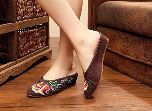 &hua Fine Chaussures brodées, semelle tendon, style ethnique, flip flop féminin, mode, confortable, sandales Brown
