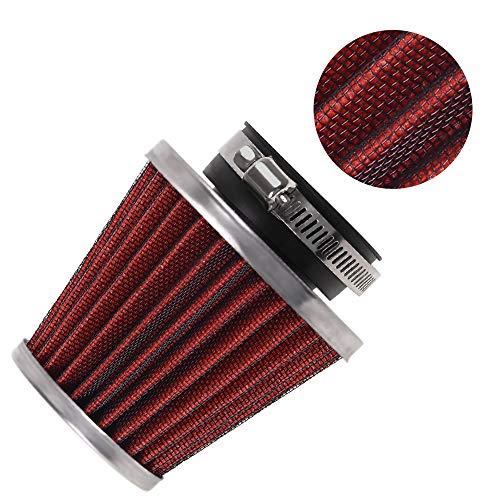 Evermotor Universal Doppelschicht Stahl Filter Luftfilter Rot 42mm 43mm 44mm für Motorrad Scooter ATV Moped Roller