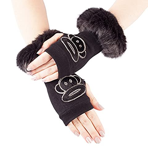 GLV140-Black Fingerless Stretch Knit Gloves with Faux Fur Trim and Diamante Monkey Design