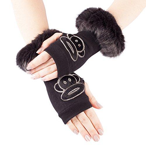 Mitaines tricotées élastiques noires avec fausse fourrure et divers motifs diamants Style 09