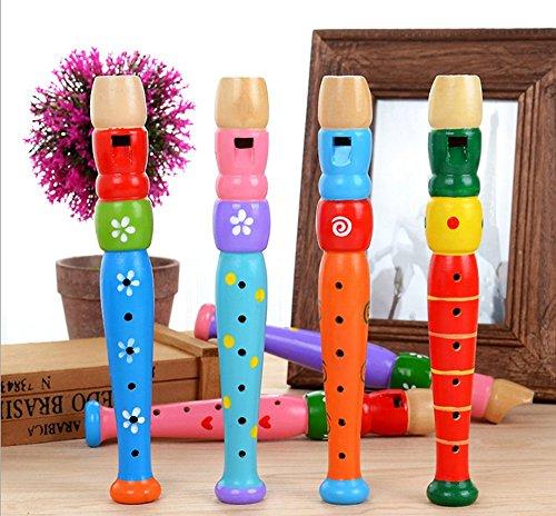 mxjeeio 20cmX3cm 1 Stück 6 Loch-hölzerne Bunte Klarinette Piccolo Flöte Spielzeug Musikinstrument für Kinder Zufällige Farbe