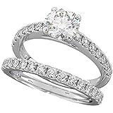 Ladies Ring - 925 Sterling Silver Luxury Wedding Engagement Bridal Ring Set Q