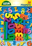 Lena 65747 - Magnet Zahlen und Zeichen Set, mit 36 magnetischen Zahlen und Rechenzeichen je ca. 3 cm, Magnetzahlen Set für Kinder ab 3 Jahre, Rechenset für Magnettafel, Zahlenmagnete zum Rechnen üben