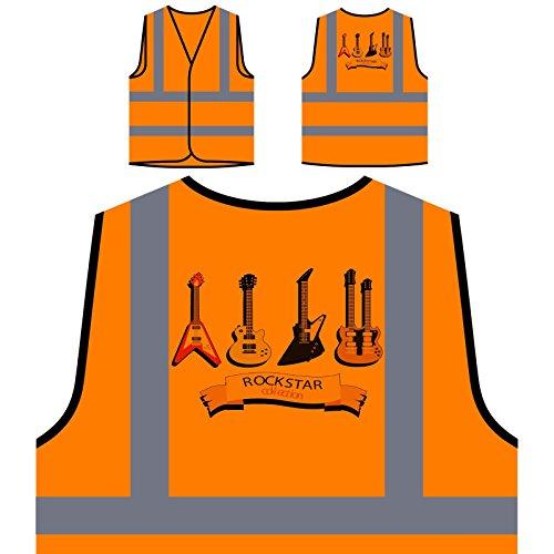 Rockstar Collection Gitarrenmusik Kunst Neuheit Personalisierte High Visibility Orange Sicherheitsjacke Weste c848vo