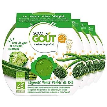 Good Goût Légumes Verts Perles de Blé Repas Bio Dès 12 Mois 220 g,Lot de 4