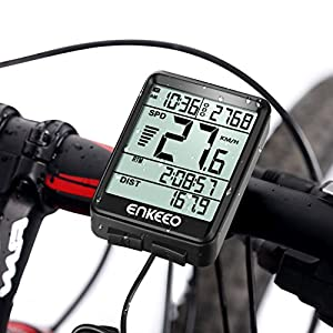 Enkeeo - Ciclocomputador Cableado de Bicicleta, Cuentakilómetros Velocímetro, Velocidad Actual / AVG / MAX Tiempo / Distancia de Vieje