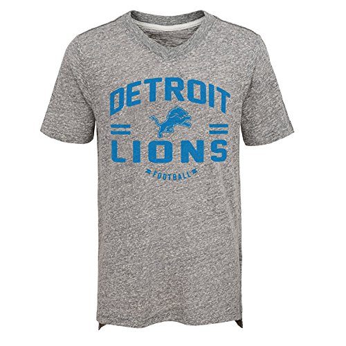 NFL Detroit Lions Jungen Youth Heritage Short Sleeve Tri Blend Tee Heather Grau, Jugend X-Large (18)