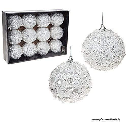 Confezione da 12 deluxe decorato baubles bianco 8cm albero di natale