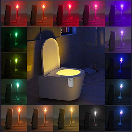 Lámpara de inodoro LED Luz de WC 16 Colores con Sensor de Movimiente Iluminación Nocturna para Niños Luz Automática de Movimiento Activado Luz de Cuarto de Baño(Con Pilas)-Neolight N1