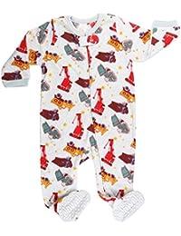 Elowel Baby Jungen Einteiler Strampler Schlafanzug Schlafoverall Sand-LKW Flauschig