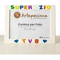 Cornici per foto in legno con la scritta Super Zio TVB e decorata con cuoricini, da appoggiare o appendere, misura 13x18…