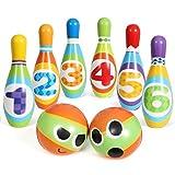 SGILE Bunte Bowlingkugel Boule-Spiele Bowling Set für Kinder, Kegelspiele Ballspielzeug Bowlingset mit 6 Kegel und 2 Ball, Interaktiv Spielzeug für Kinder Indoor Outdoor Sport Kindergeschenk