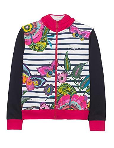 Desigual Mädchen Girl Knit Jacket (Sweat_CHEJOV) Jacke, Blau (Navy 5000), 164 (Herstellergröße: 13/14)