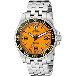 DETOMASO Men's San Marino Professional Automatic Deep Sea Diving Watch with Orange Dial Analogue Display and Silver Stainless Steel Bracelet DT1007-A