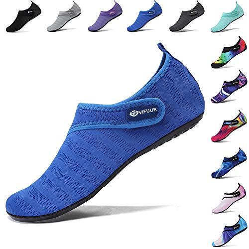 VIFUUR Wassersportschuhe Damen Herren Verstellbares Mesh Barefoot Aqua Yoga für Outdoor Beach Surfen Blauer Gurt EU36/37