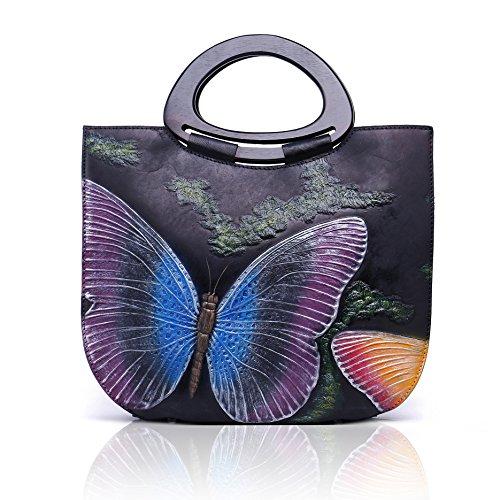 Damen Handtasche Italien Leder groß Taschen Vintage Design Damen-Henkeltaschen Frauen Umhängetasche Moderne Schultertasche mit Verstellbar Abnehmbar Schultergurt