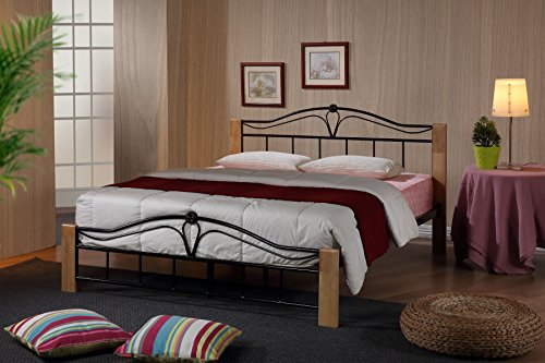 Thiago 4FT Small Double Wooden Beech and Black Metal Bed Frame Modern Bedroom Furniture