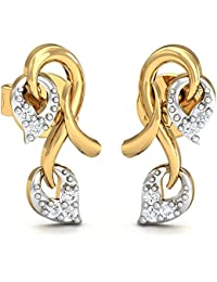 Stylori 18k Gold and Diamond Heart Twined Stud Earrings