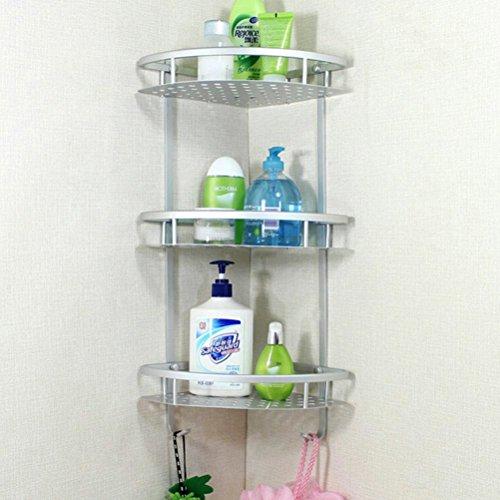 BATHAE Aluminium Badezimmer Regal 3 Tiers Bad Dusche Regal Bad Shampoo Halter Korb Halter Eckablage Chrom-Badezimmer-Produk (3-tier-korb)