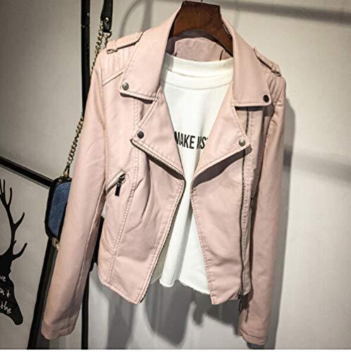 YHXMG Damen Jacke Lederjacke Damen Winter Und Herbst MantelFarbe Reißverschluss Oberbekleidung Jacke, Schwarz, M (Face Rote Jacke North Und Weiße)