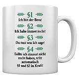 Besserwisser - Ich bin der Boss Geschenktasse Kaffeetasse Tee Tasse Becher 11 Oz. Weiß