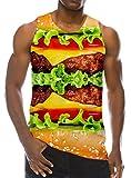 Loveternal Herren Hamburger Weste T-Shirt 3D Gedruckt Grafik Tank Top Casual Lustige Ärmellose Tees M