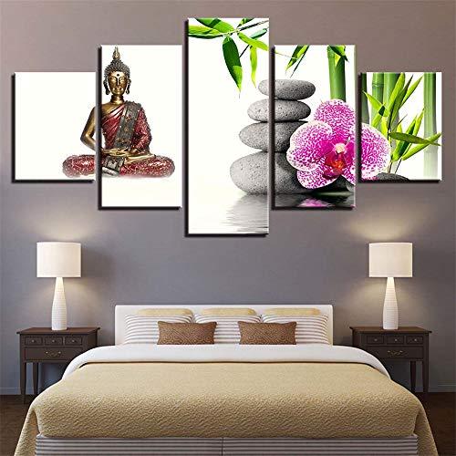 mmwin Buddhistisches wandbild Leinwandbilder Wandkunst Wohnkultur Rahmen Wohnzimmer HD Drucke Poster 5 Stücke Grün Aurora Borealis Lake Hill Nacht Malerei 40x60 40x80 40x100 cm (Carbon Reynolds)
