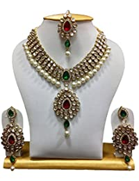 Shining Diva Ruby Pearl Kundan Traditional Jewellery Earring Necklace Set For Women