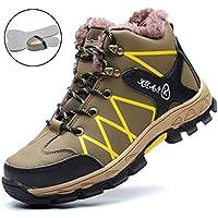 SROTER Mujer Hombre Invierno Botas de Seguridad Trabajo Zapatillas con Puntera de Acero Impermeables Botas de