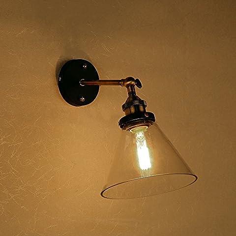 Lixada Lámparas de Pared Apliques que Montado en Pared Retro Rústico Vintage para Bombilla E27 Dormitorio Escalera