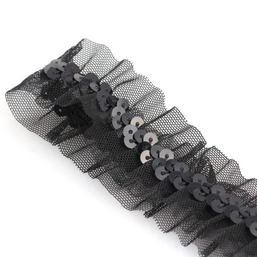 neotrims-decorative-sequins-stretch-ribbon-ruched-frilly-style-on-black-net-fabric-metallic-sequins-