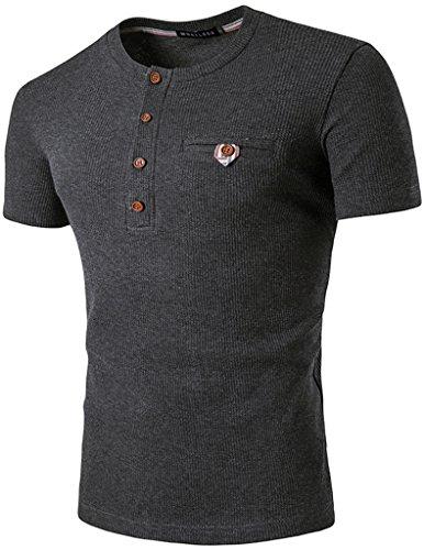 Whatlees Herren Urban Basic Henley T-shirts Muskelshirt mit schwer Baumwolle Jersey in Versch.Farben B471-DarkGrey