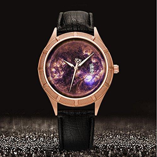 Golden Armbanduhr Kalender Datum dünn Classic Casual Uhr mit Schwarz Leder Band großes Gesicht Uhren Starry Sky series-266. Solar Flare, Sonne, Eruption, Energie (Solar-flare-design)